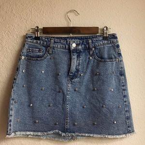 Dresses & Skirts - Studded denim mini skirt size 8